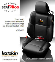 Leather Seat Covers 2015-2021 Dodge Challenger Black Gray Carbon Barracuda Logo