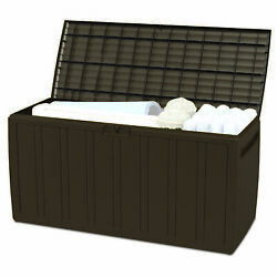 Ram Quality Products Outdoor Storage Deck Box Patio Furniture, 71 Gallon, Brown