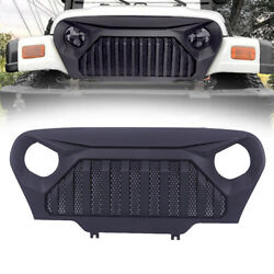 Front Matte Black Abs Grille Grill W/mesh For 1997-2006 Jeep Wrangler Tj