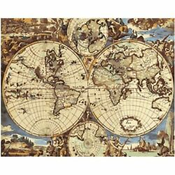 World Map Oil Painting By Numbers Acrylic Canvas Picture Wall Art Wedding Decors