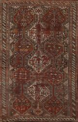 Antique Pre-1900 Geometric Abadeh Area Rug Wool Vegetable Dye Hand-knotted 5and039x7and039