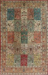 Antique Animal Pictorial Panel Design Tebriz Hand-knotted Area Rug Wool 7and039x10and039