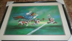 Looney Tunes Football Warner Bros Studio Store Exclusive Lithograph Framed