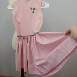 Vintage 1950s Girls Pre Teen Pink Sleeveless Dress Rose Embroidery $25.00