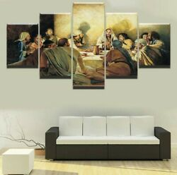 Last Supper Jesus Christian 5pc Panel Framed Canvas Picture Home Decor Wall Art