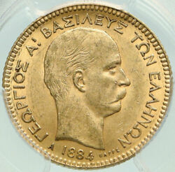 1884 Greece King George I Antique Gold 20 Drachmai Coin Pcgs Certified Ms I84883