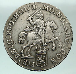 1793 Netherlands Holland Knight On Horse Lion Silver Rider Ducaton Coin I84860