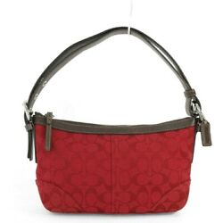 COACH Hobo Red Brown Signature Canvas Leather Shoulder Cross body Bag F12884 $59.95