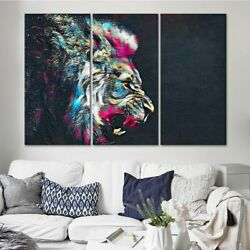 Color Abstract Lion Face 3 PCs Canvas Printing Wall Picture Poster Home Decor