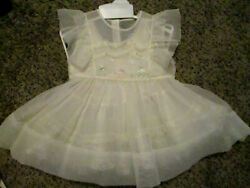 Girls Vintage 1950s WHITE Sheer Lace EMBROIDERED Party Dress Princess  W Slip $26.99