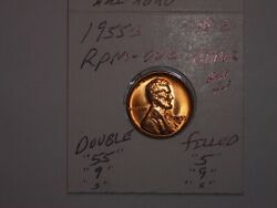 Wheat Penny 1955-s Double And039and0395and039and039 Error Red Bu 2 Lincoln Cent Filled 5/5 Error