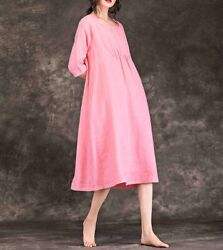 Custom Made To Order Round Neck Relaxed Fit Casual A-line Dress Plus 1x-10x Y585