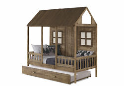 Twin Front Porch Low Loft In Rustic Driftwood Finish W/twin Trundle Bed