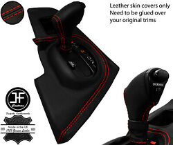 Red Stitch Shift Surround+automatic Knob Leather Covers For Toyota Supra Mk4