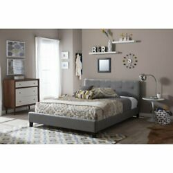2020 New Grey Queen Size Metal Bed Frame Pu Button Tufted Upholstered Platform