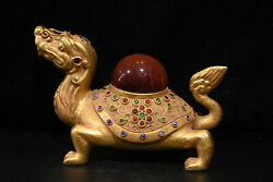 Old China Gold Plated Copper Carving Set Gemstone Dragon Turtle Ornaments