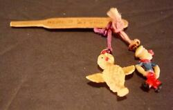 Vintage Popeye The Sailor And Yellow Bird Cracker Jack Prize Toys On Wood Paddle