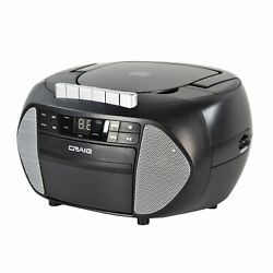Craig CD6951 SL CD Boombox with AM FM Radio and Cassette Player in Black Silver