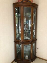 Oak Curio Corner Cabinet With Glass Shelves And Lighting