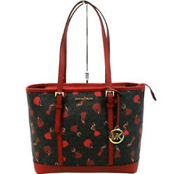 A Rank Michael Kors Tote Bag Canvas Dark Brown Red Women Second Hand 72 No.52700