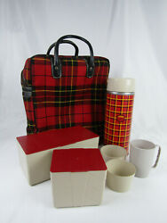 Vintage Plaid Thermos Picnic Carry Case - 2 Lunch Boxes, Thermos, Cups - Retro