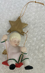 """Vintage Ebeling And Reuss Co 1985 Angel On A Swing With A Gold Star"""" Porcelain"""