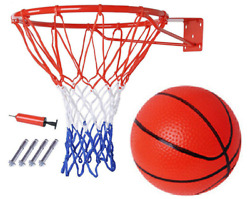 Basketball Hoop Metal Ring With Net And Ball And Pump Set And Wall Mounted Fixings 326