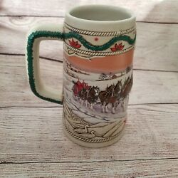 1996 Budweiser Holiday Stein American Homestead Clydesdale Beer Wagon