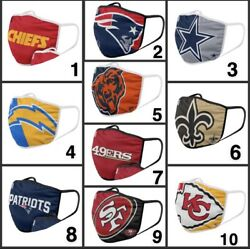 NFL Football Teams Adults Face Mask Washable Reusable plus one filter Pm 2.5 $10.99