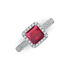 Ruby And Diamond 2 1/5 Ctw Halo Engagement Ring 14k Gold Jp215742