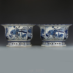 Old Chinese Antiques Late Qing Dynasty Blue And White Maid Kirin Flower Bowl