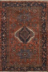 Antique Geometric Gharajeh Vegetable Dye Hand-knotted Area Rug Wool Carpet 5'x6'