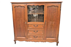 Vintage French Oak Bookcase With Display Cupboard And 3 Drawers