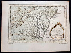 1756 J N Bellin Antique Map Virginia Chesapeake Bay Maryland And Parts Nj And Pa
