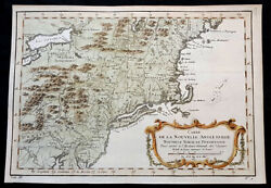 1757 J N Bellin Antique Map Of Of New England, Pennsylvania To New York To Maine