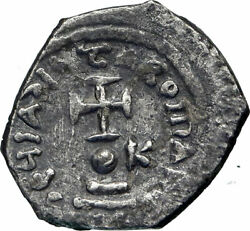 Heraclius 613ad Authentic Ancient Silver Byzantine Hexagram Coin W Cross I85181