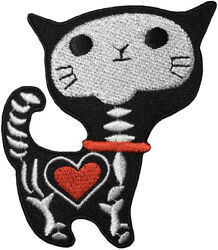 CUTE X RAY CAT Skeleton Bone Skull Red Heart Kitten Funny Kids Sew Iron on Patch $8.78