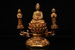 Old China 24k Gold Plating Handmade Carving Protect The Law Buddha Statue