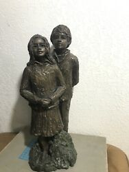 Vintage Bronze Sculpture Statue Boy And Girl Signed Peggy Mach