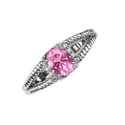 Oval Cut Pink Sapphire And Diamond 1 5/8 Ctw Engagement Ring 14k Gold Jp203753
