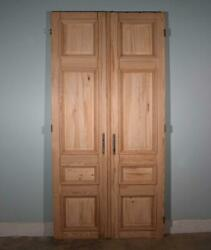 108 X 53 Pair Of French/belgian Antique 4 Panel Stripped Sanded Wood Doors
