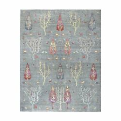 8'x9'10 Folk Art Willow And Cypress Tree Design Peshawar Hand Knotted Rug R54815