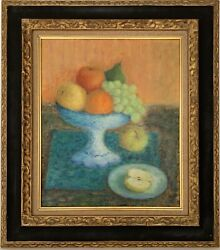 French Post-impressionist Signed Oil - Fine Still Life Composition Fruit And Bowl