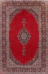 Antique Traditional Floral Open-field Ardakan Red Area Rug Hand-knotted 10and039x15and039
