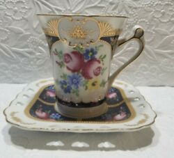 Royal Scotland White With Cobalt Blue Panels Floral Chintz Tall Cup And Saucer New