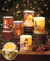 Flameless Led Christmas Scene Real Wax Pillar Candle 4 Scenes Avail. Great Gift