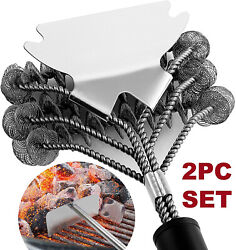 2pc Bbq Cleaning Tool Set Heavy Duty Bristle Free Grill Brush And Charcoal Rake