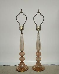 Pair Of Table Lamps Italian Murano Pink Glass Bubble Mid Century Modern Set