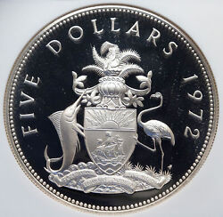1972 Bahamas Huge Pirate Defeat Motto Vintage Proof Silver 5 Coin Ngc I85230