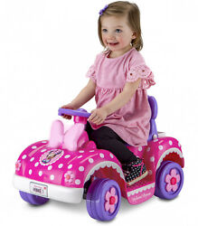 Girls Toddler Ride On Toys Disney's Minnie Mouse Design Easy Push-button System